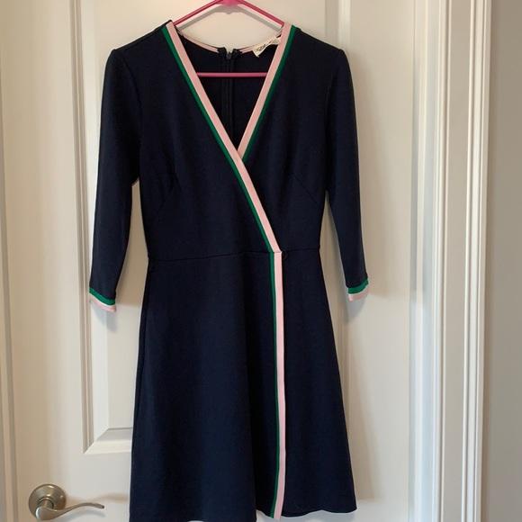 Preppy navy and stripped trim dress